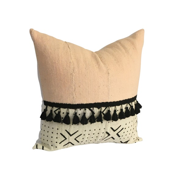 Light Pink Pillow Cover, African Mudcloth Pillow with Tassels, Boho Throw Pillow, African Print Home Décor, Housewarming Gift for New Home