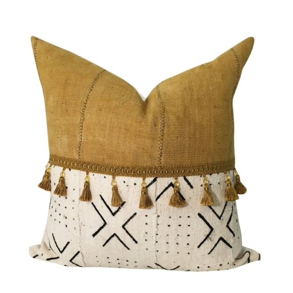 Mustard Yellow Pillow Cover, Yellow African Mudcloth Pillow, Pillow with Tassels, Tribal Print Pillow, Boho Throw Pillow, Mud Cloth Pillow