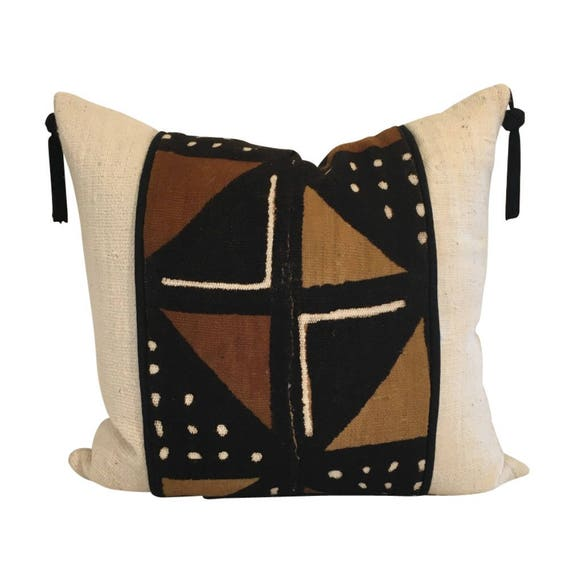 Handwoven Brown White Pillow Cover, Authentic Mudcloth Geometric Print Pillow, Tassels on Pillow