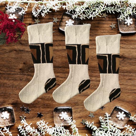 Ethnic Christmas Stocking, Christmas Stocking for Boys, Brown Christmas Stocking, Black and White Christmas Décor, Boho Stocking