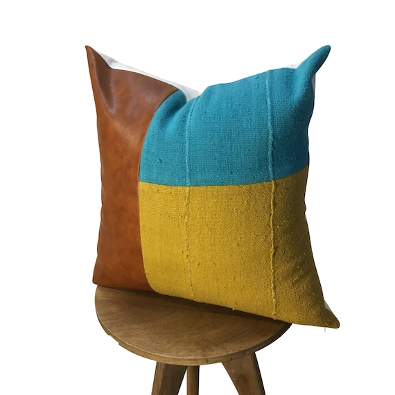 Vegan Leather Pillow,  Blue and Mustard Yellow Pillow Cover, Mudcloth Pillow, Faux Leather Color Block Pillow