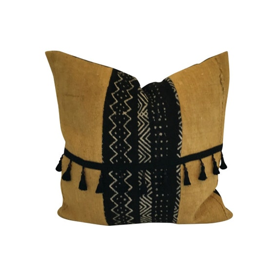 Gold Fringe Pillow Cover, Fall Boho Pillow, Tassel Throw Pillow, Authentic Mud Cloth, Black and White Mud Cloth, Gold Mud Cloth