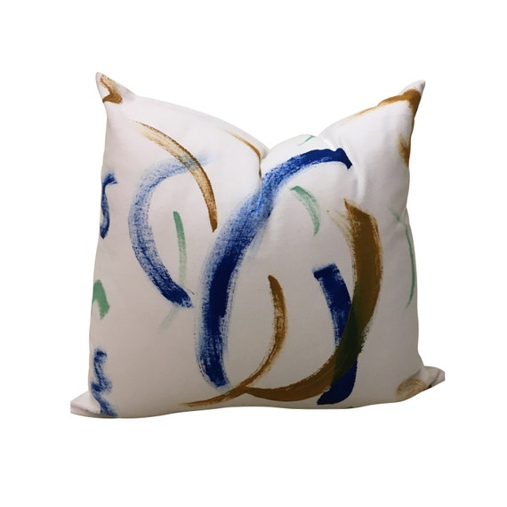 Hand Painted Throw Pillow Cover, Modern Pillow, Abstract Colorful Pillow Cover, Multi-Color Pillow