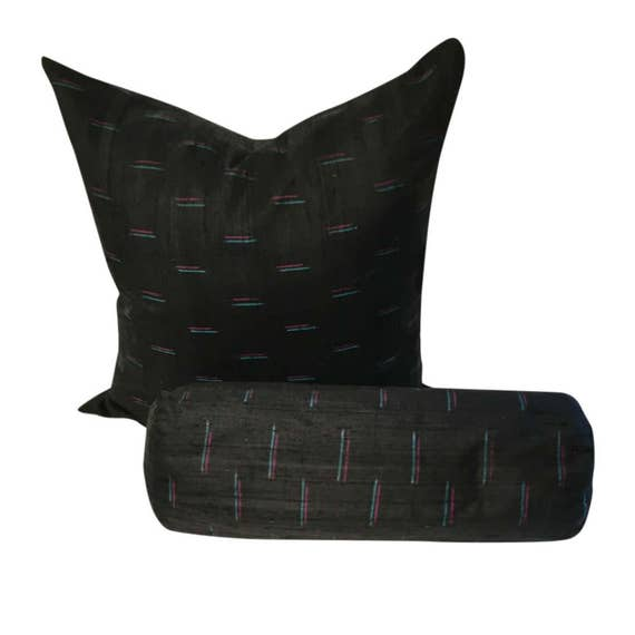Excellent Black Silk Pillow Cover Black Indian Silk Pillow With Colors Dupioni Silk Throw Pillow Black Couch Pillow In 16X16 18X18 20X20 Machost Co Dining Chair Design Ideas Machostcouk