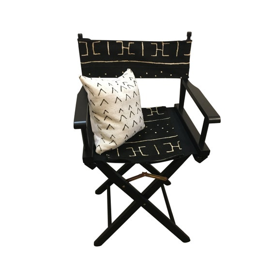 Black and White Indoor or Outdoor Chair, Director's Chair, Black Patio Chair, Wooden Folding Chair, Mud Cloth Chair