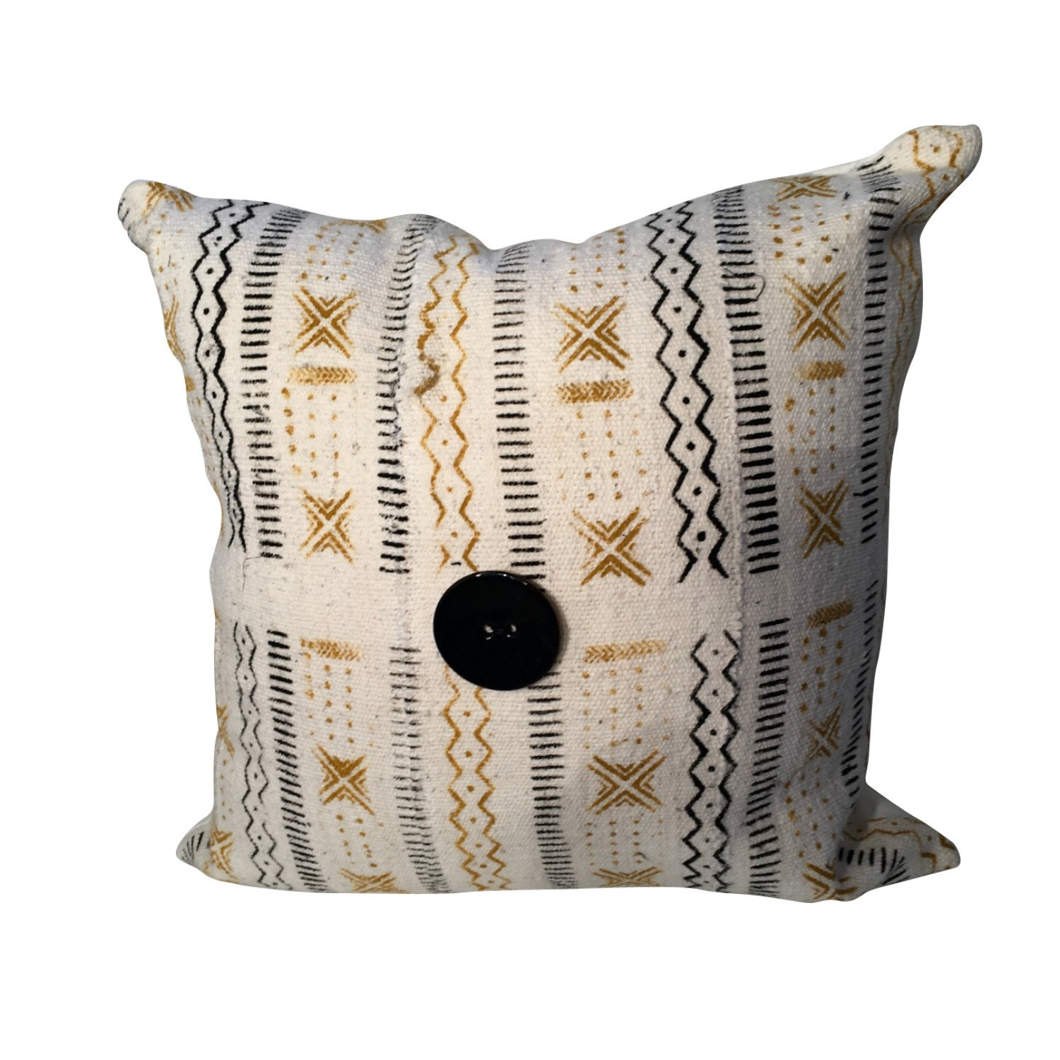 White Gold and Black Mudcloth Pillow