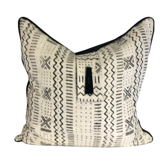 Black and White Authentic Mudcloth Pillow Cover, Mud cloth Pillow, African Fabric Pillow, Ethnic Fabric Pillow, African Decor