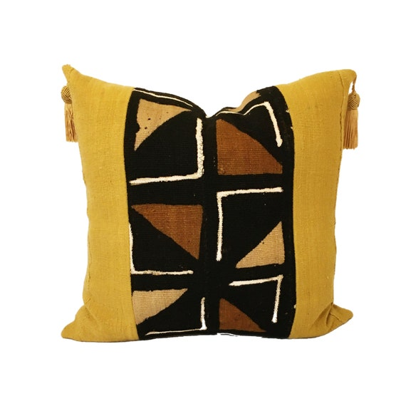 Yellow Gold Pillow Cover with African Fabric, Brown White Mudcloth Pillow Cover, 20x20 Geometric Print