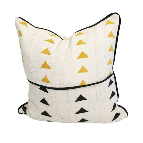 Arrow Mudcloth Pillow Cover, White African Pillow, Black and White Fabric Pillow, Ethnic Fabric Pillow, African Decor