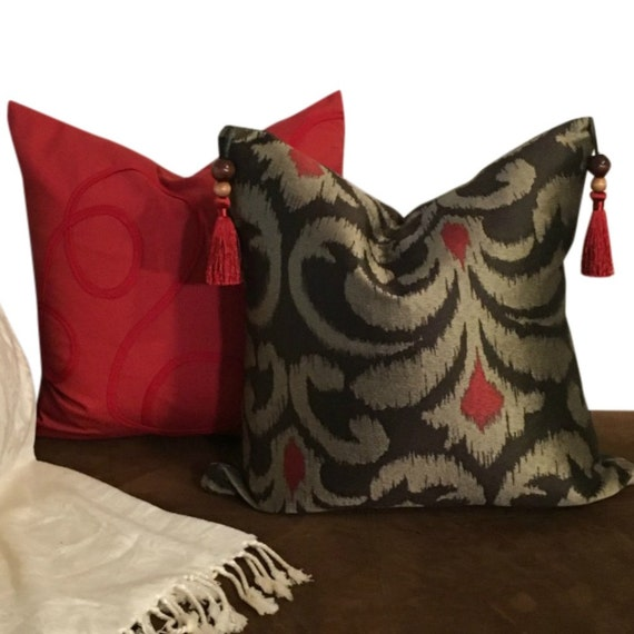 Brown Ikat Pillow Cover Set,  Ikat Pillow Covers for Sofa, Tassels on Pillow, Brown Boho Decor
