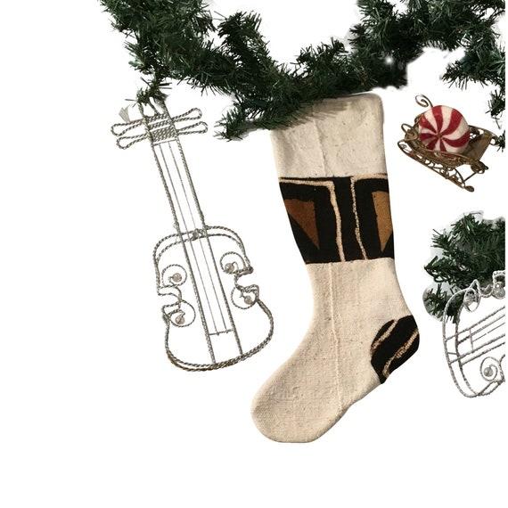 Farmhouse Christmas Stocking, Brown and White Mud Cloth, White Christmas Stocking, Black and White Christmas Décor, Boho Stocking