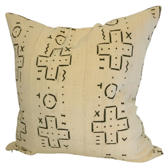 White And Black Mudcloth Pillow Cover, 20x20 Geometric Pillow, Authentic Mud Cloth
