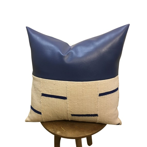 White Mudcloth Blue Dash Pillow Cover, Blue Faux Leather, Vegan Leather Pillow, African Fabric Pillow