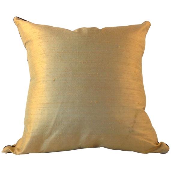 Beige SILK Pillow Cover, Tan SILK Pillow Cover, Solid Beige Pillow,  Designer Fabric Pillow, Indian Silk Pillow