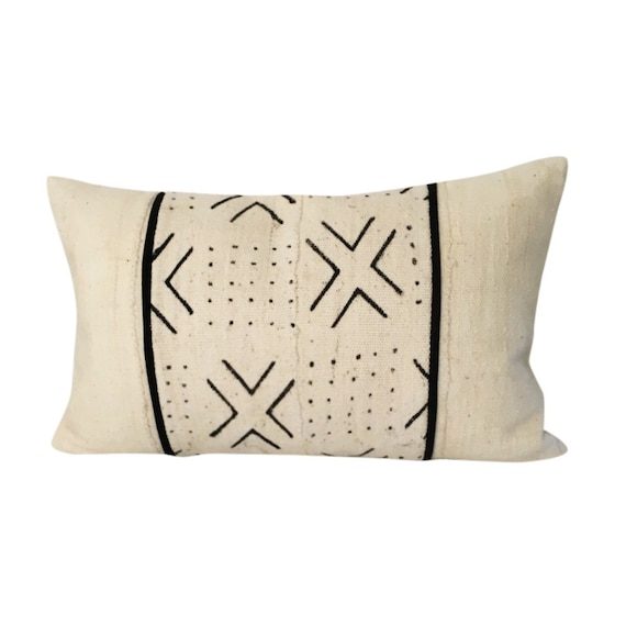 Black and White Lumbar, WITH INSERT, Authentic Mud Cloth Pillow, Mudcloth Pillow Cover, Long Throw Pillow  12x18, 12x20, 12x22, 14x20