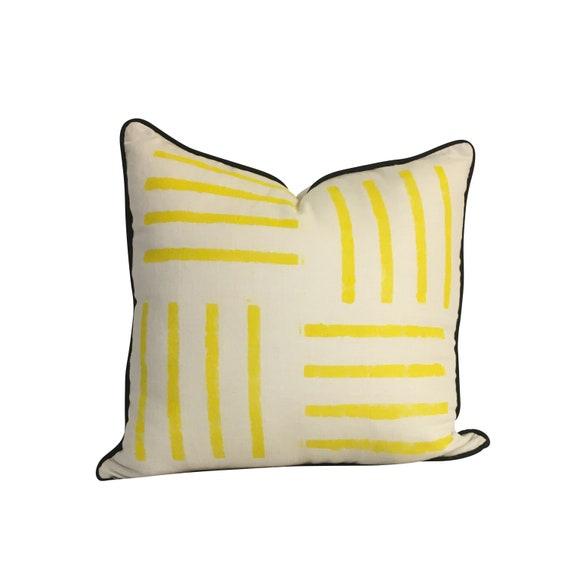 Yellow Linen Pillow Cover, Stripped Linen Pillow, Yellow Pillow Cover, Geometric Pillow