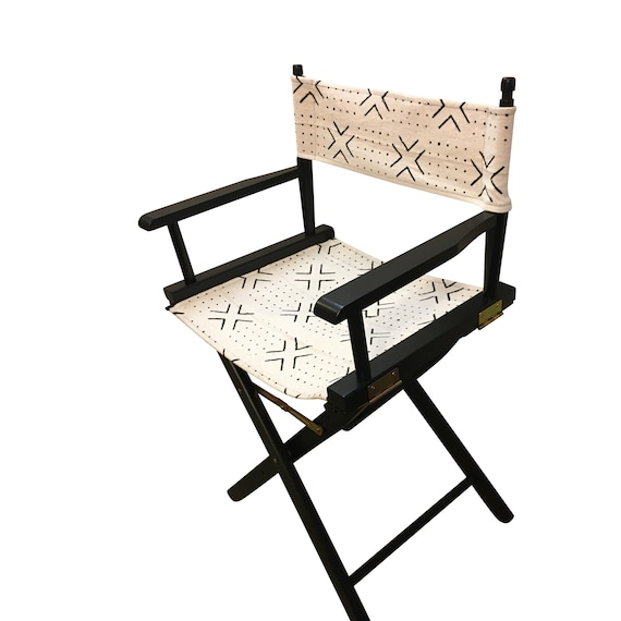 Movie Chair, Director's Chair, White and Black Chair,  Outdoor or Indoor Chair, Mudcloth Chair, Wooden Folding Chair