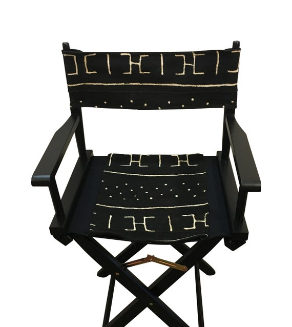 Wooden Folding Chair, Director's Chair, Black Patio Chair, Wooden Folding Chair, Mud Cloth Chair