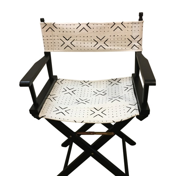 Black and White Folding Chair, Director's Chair, Patio Chair, Wooden Folding Chair, Mud Cloth Chair