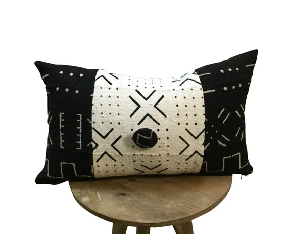 Black and White Lumbar, INSERT INCLUDED,  Long Black and White Pillow, Mud Cloth Lumbar Pillow, African Tribal Pattern, Modern Home Décor