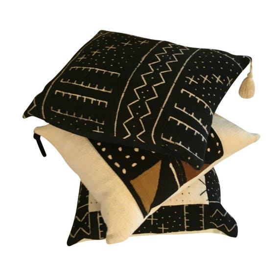 Handwoven Black Lumbar Pillow Cover, Black Mud Cloth, Black Throw Pillow Cover, Black Boho Pillow, Pillow with Tassels,18x18, 20x20, 22x22