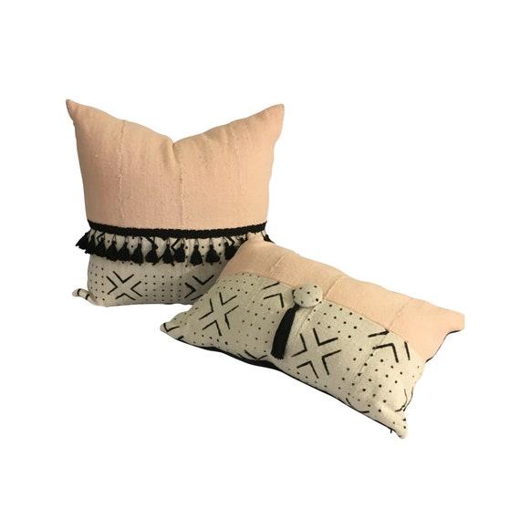 Pink Mudcloth Pillow Set, INSERT WITH LUMBAR, Tassels on Pillow, Authentic Mudcloth, Square and Lumbar Pillow Set, Matching Pillows