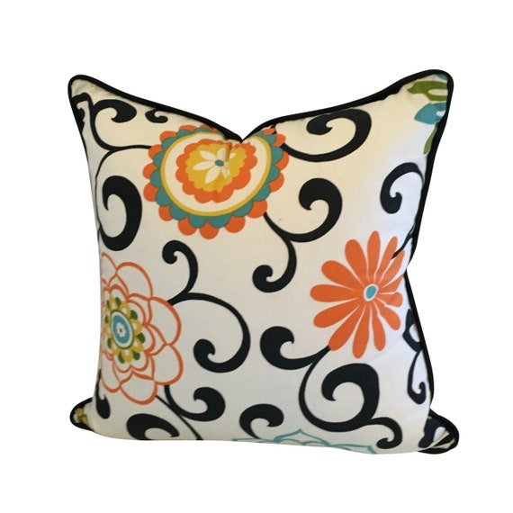 Flower Pillow Cover, Colorful Pillow, Waverly Fabric Pillow, Abstract Pillow, Boho Pillow Cover,  Waverly Fabric