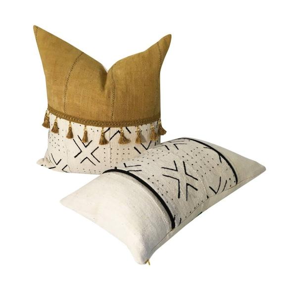 Mudcloth Pillow Set, INSERT FOR LUMBAR, Tassels on Pillow, Authentic Mudcloth, Square and Lumbar Pillow Set, Matching Pillows