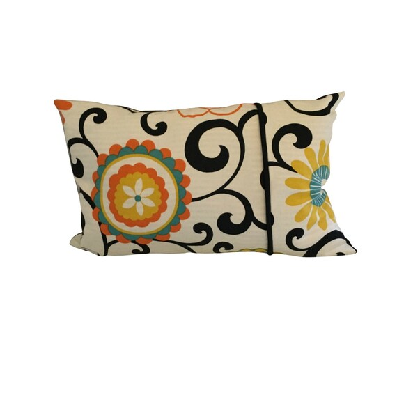 Long Flower Pillow Cover, Colorful Lumbar Pillow, Long Abstract Pillow, Floral Boho Pillow Cover,  Waverly Fabric