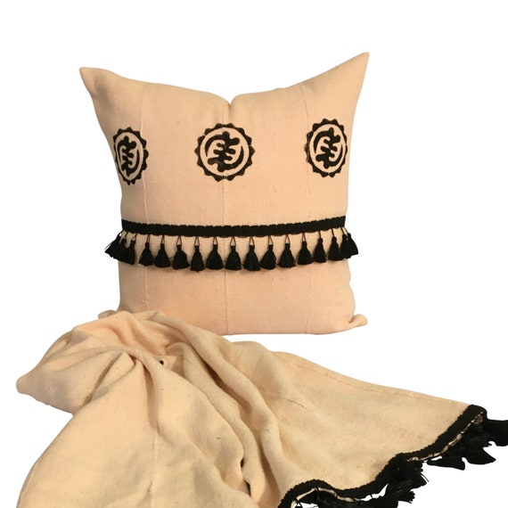 Light Pink Pillow Cover, Authentic Mudcloth Pillow, Boho Pink Pillow, Pink and Black Pillow, Pillow with Tassels