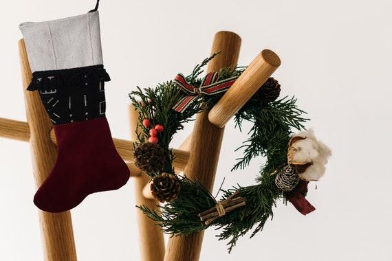 Large Red Christmas Stocking, Velvet Christmas Stocking, Mudcloth Christmas Stocking, Farmhouse Christmas Décor