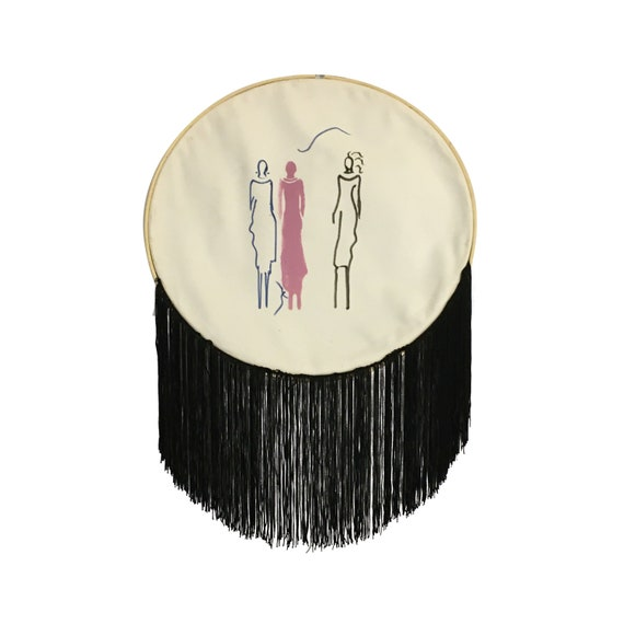 Gift for Woman, Hand Painted Wall Hanging, Round Wall Decor, Wall Art with Women