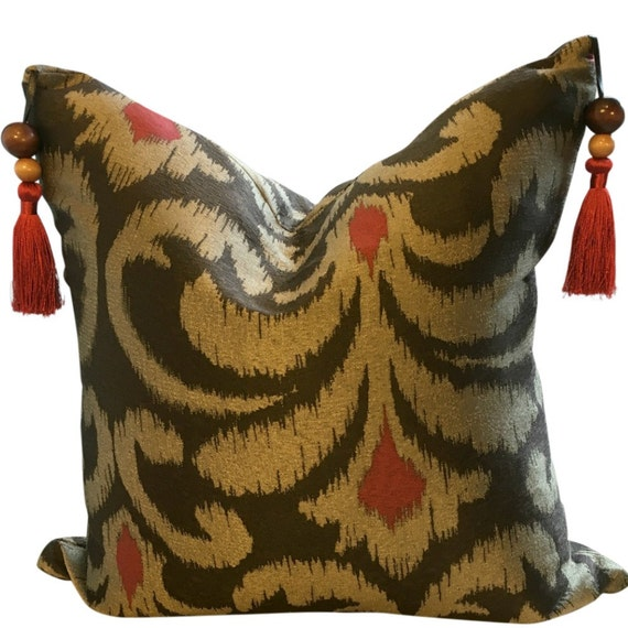 Ikat Pillow Cover, Ikat Pillow Cover 20x20, Ikat Pillow Cover 18x18, Brown Ikat Pillow Covers, Brown Gold Throw Pillows, Gold Pillow Cover