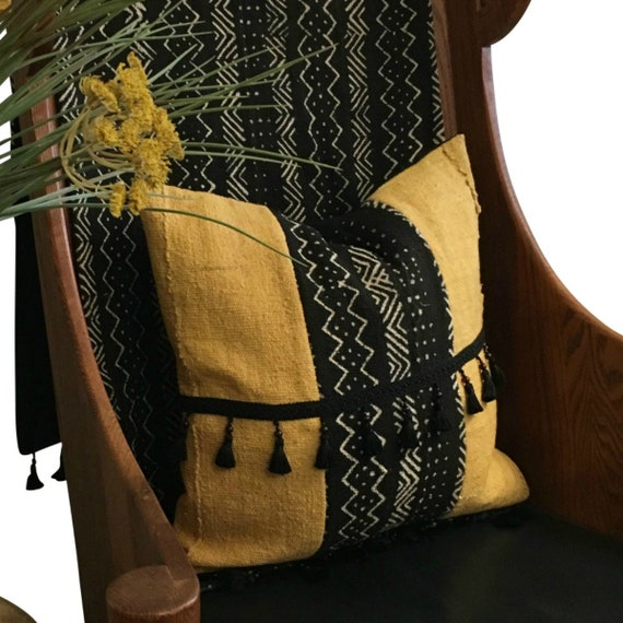 Mustard Yellow and Black Pillow Cover, African Print Pillow, Mudcloth Pillow,  Tassels on Pillow, Tribal Print Pillow, Mud Cloth Pillow