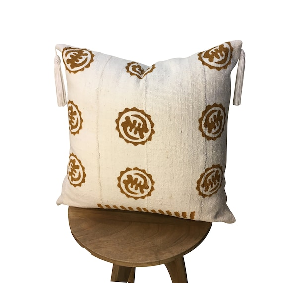 Brown and White Mudcloth Pillow Cover, Tassels onPillow, Pillow for Men and Women, Geometric Shape Pillow, Organic Cotton Pillow, Boho