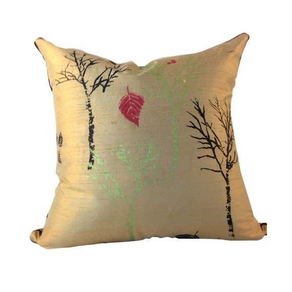 Tan Pillow Cover, LINED Pillow, Beige SILK Couch Pillow, Hand Painted Silk Pillow,  Pillow with Trees
