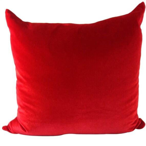 Red Velvet Pillow Cover, LINED, Velvet Couch Pillow, Bright Red Pillow, 16x16. 19x18, 20x20, 22x22