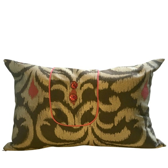 Brown Ikat Pillow, INSERT INCLUDED, Long Brown Pillow, Brown Lumbar Pillow, Long Brown Boho Pillow