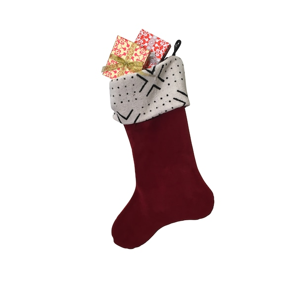 Red Velvet Christmas Stocking with Mud Cloth Accent, Modern Christmas Home Décor, African Tribal Print Fabric, Handmade Holiday Decoration