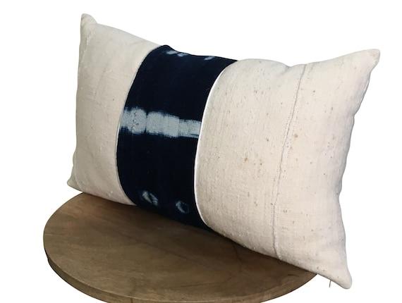 Long Mudcloth Pillow, WITH INSERT, Lumbar Mud Cloth Pillow, Indigo Lumbar Pillow, Pillow Includes Insert 12x18, 12x20, 12x22, 14x20, 14x22
