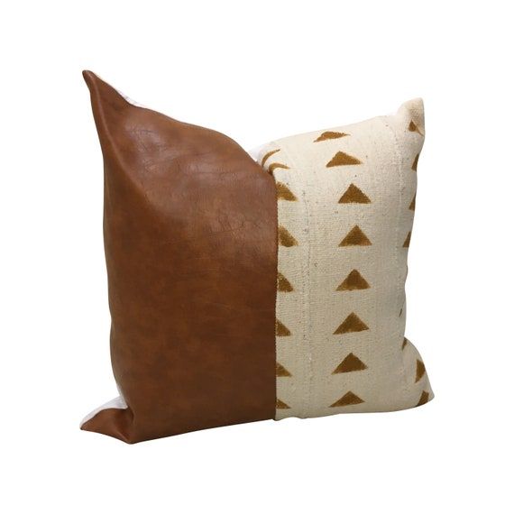 Rust Geometric Pillow Cover, Faux Leather Pillow, Brown and White Pillow, Brown Mud Cloth Pillow