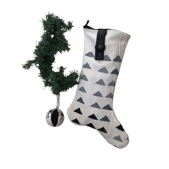 Modern Christmas Stocking, Black and White Christmas Stocking, Authentic Mud Cloth Christmas Stocking, White Christmas Stocking