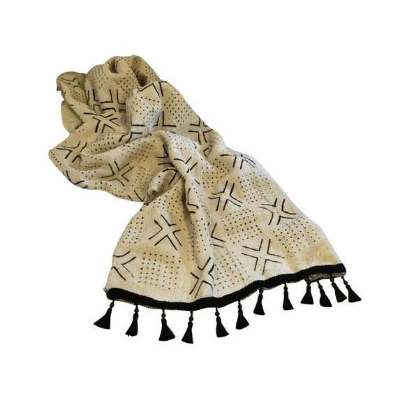Black and White Sofa Throw, Boho Sofa Throw, Throw for Couch, Mudlocth Cover, Geometric Throw for Bed, Sofa Scarf