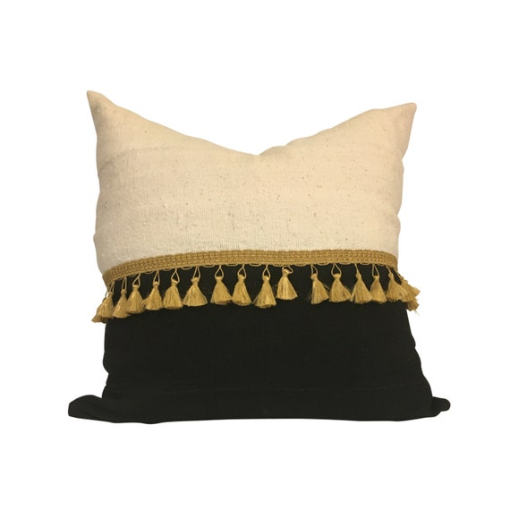 Black and Gold Tassel Pillow Cover, Black and White Pillow, Black and White Mudcloth Pillow Cover, Pillow with Tassels