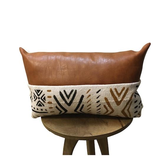 Rust Leather Pillow Cover, Vegan Leather Pillow,  Brown Lumbar Pillow, 12x18, 12x20, 12x22, 14x20, 14X22