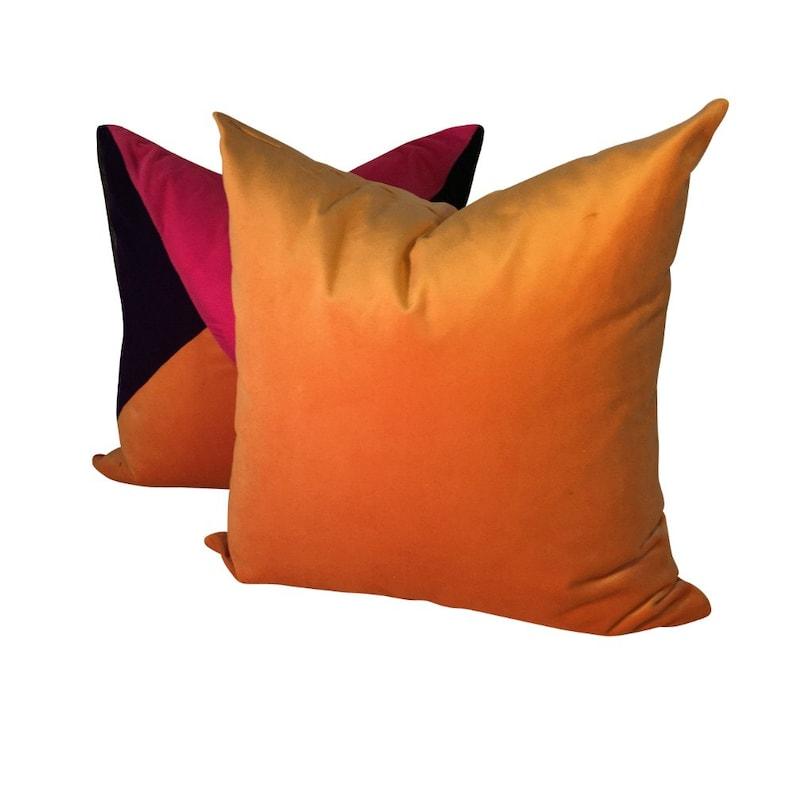 Orange Velvet Pillow Velvet Sofa Pillow Bright Orange Pillow Golden Orange Pillow Cover Velvet Throw Pillow Yellow Orange Pillow