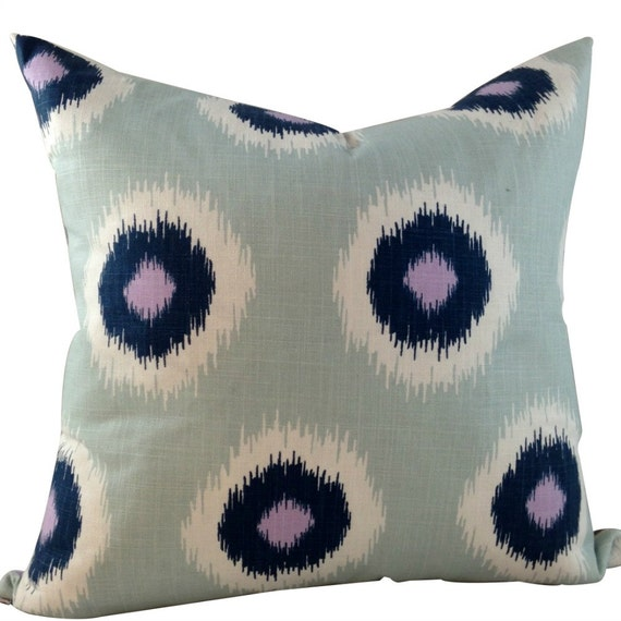 Blue Ikat Pillow Cover,  Abstract Pillow Cover, Boho Chic Pillows, Ethnic Pillows, 16x16, 18x18, 20x20