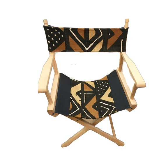 Brown Indoor or Outdoor Chair, Director's Chair, Geometric Patio Chair, Wooden Folding Chair, Mud Cloth Chair