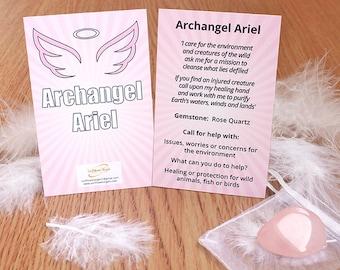 Archangel Ariel guidance card with Rose Quartz crystal, angel, archangel, Archangel Ariel, guidance, crystal, rose quartz, archangel guide
