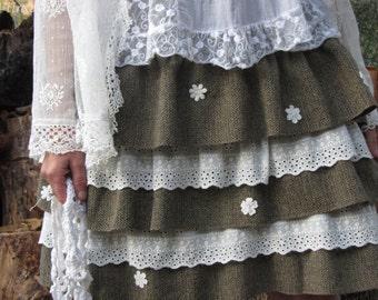 Short skirt Brown herringbone and ruffles and lace English charm, boho, Bohemian, romantic and shabby